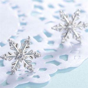 Dainty Snowflake Silver CZ Stud Earrings